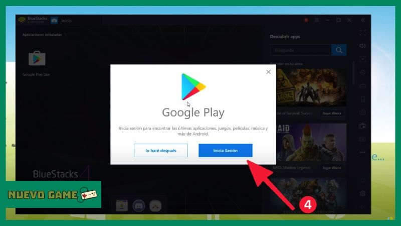 como iniciar sesion google play gmail emulador bluestacks